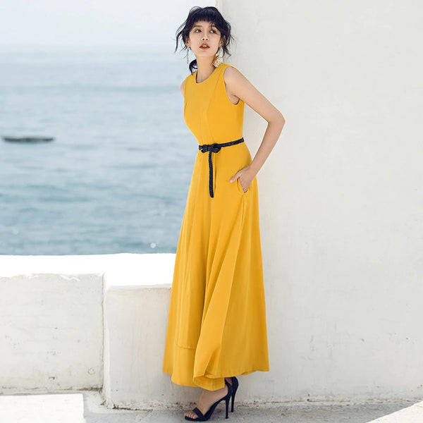 Drape sundress summer sleeveless irregular retro female long Elegant Party Maxi dress - flipkarto