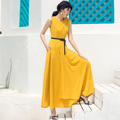 Drape sundress summer sleeveless irregular retro female long Elegant Party Maxi dress