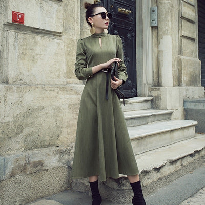 Full-sleeve maxi party dress slim-fitting formal solid green color long dress