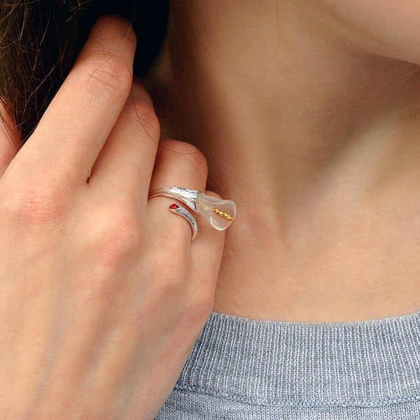 Lotus Fun Real 925 Sterling Silver Calla Lily Flower Ring - flipkarto