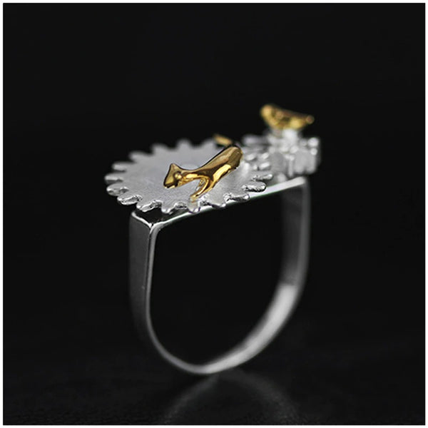 Lotus Fun Real 925 Sterling Silver Cat and Bird Meeting Ring - flipkarto
