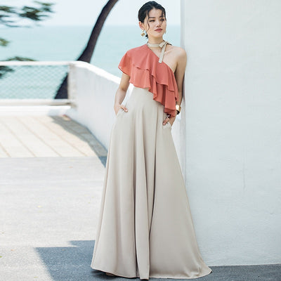 One-shoulder neckline chiffon long floor-length dress