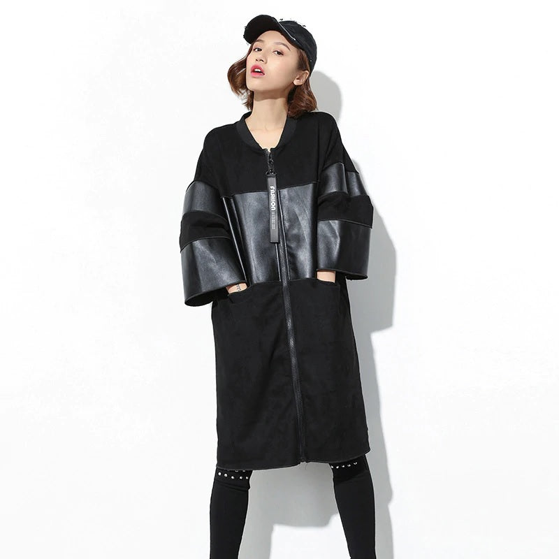PU leather Spliced trench coat Big Size Autumn Winter LT170S50