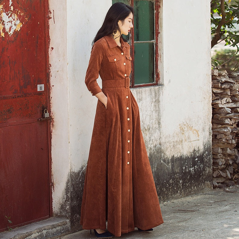 Three Quarter Sleeve High Waist Vintage Maxi Dress