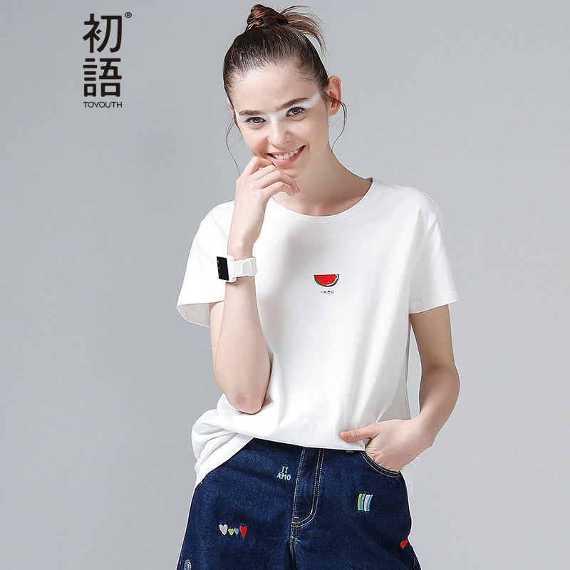 Watermelon Print T Shirts Base O-Neck Short Sleeve Female T-shirt