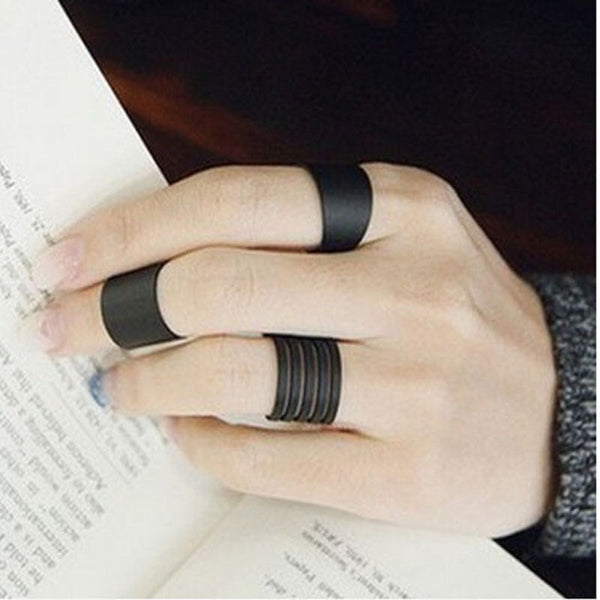 3 Pcs / Set Black Stack Plain Midi Ring - flipkarto