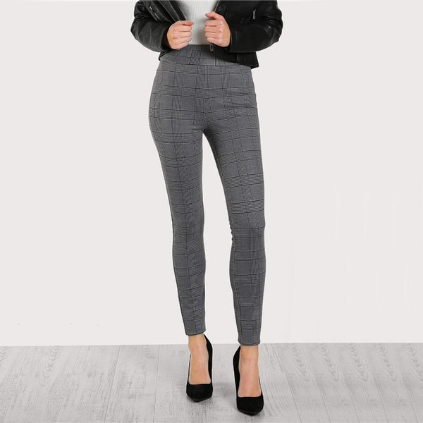 Elasticized Waist Plaid Leggings Casual Winter Pants Women High Waist Leggings Grey Womens Leggings Pants - flipkarto
