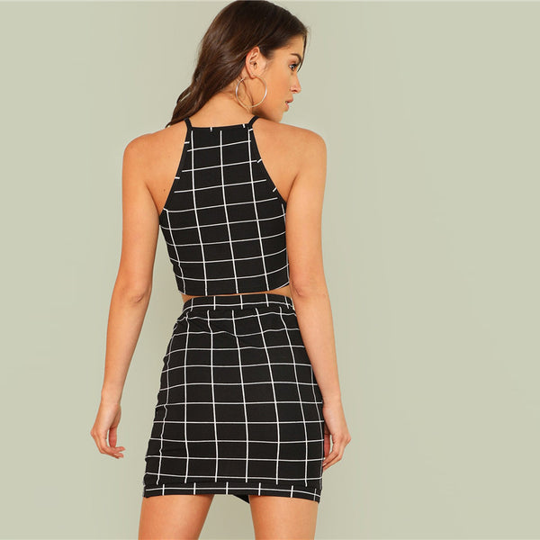 SHEIN Elegant Black and White Office Lady Workwear Women Two Piece Set Outfits Plaid Grid Crop Halter Top & Wrap Skirt Set - flipkarto