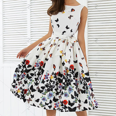 Butterfly Floral Vintage Pleat Swing Dress