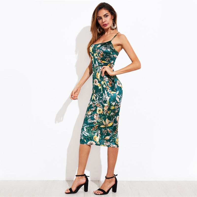 Green Lace Up Back Floral Velvet Midi Summer Party Dress