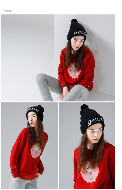 New Black Beanies Knitted Winter White Letter Embroidered Hats