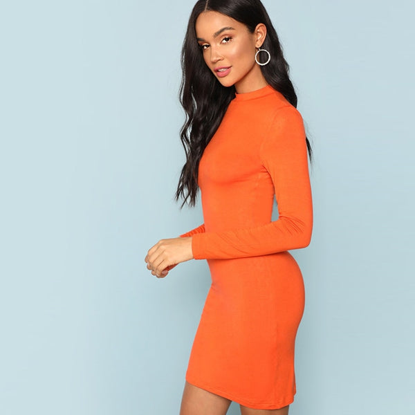 Orange Mock Neck Body con Autumn Mini Party Long Sleeve Dresses - flipkarto