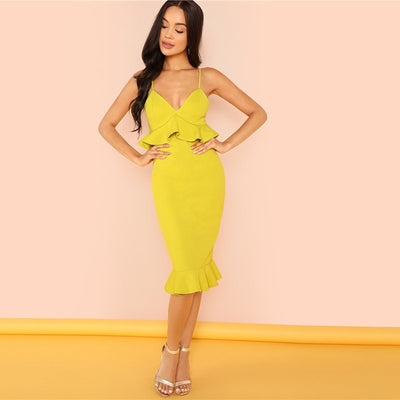 Mustard V Neck Autumn Backless Party Elegant Bodycon Summer Dresses