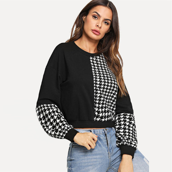 Black And White Casual Pullover Girl Crop Autumn Street wear Winter Sweatshirts - flipkarto