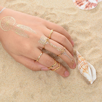 6pcs Crystal Shiny Punk Style Stacking Knuckle Rings