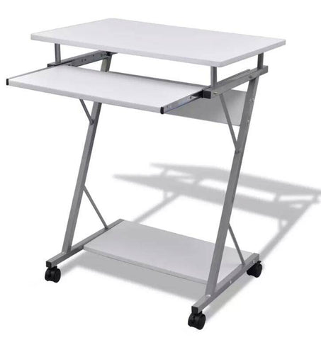 Image of Computer Desk Pull Out Tray White Furniture Office Student Table 20053