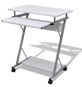Computer Desk Pull Out Tray White Furniture Office Student Table 20053
