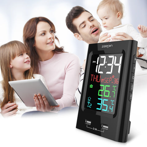 Image of ZEEPIN YT60165-1 Barometer Clock Alarm Outdoor Indoor Temperature Wireless Sensor Phone Charger
