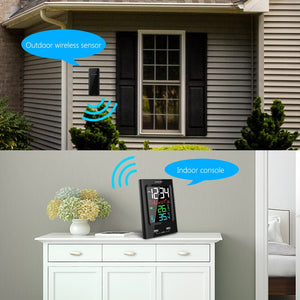 ZEEPIN YT60165-1 Barometer Clock Alarm Outdoor Indoor Temperature Wireless Sensor Phone Charger
