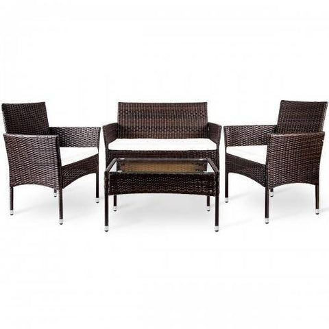 Image of 4 PC Outdoor Garden Rattan Patio Furniture Set Cushioned Seat Wicker Sofa