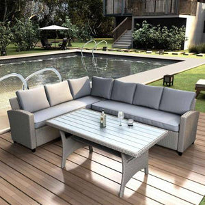 Outdoor Furniture Sectional PE Rattan Wicker Patio Set with Faux Wood Grain Top Table and Cushions