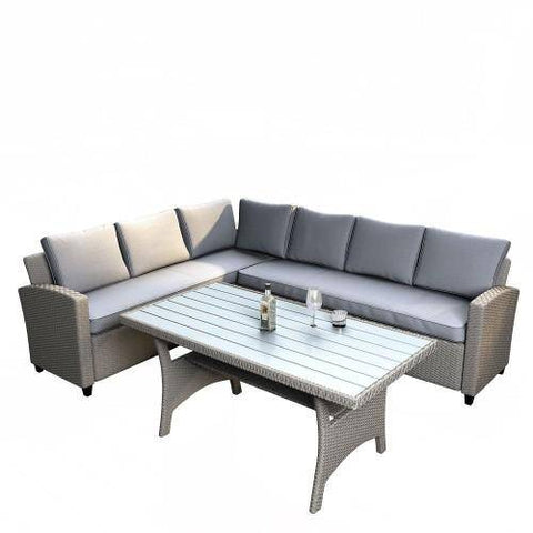 Image of Outdoor Furniture Sectional PE Rattan Wicker Patio Set with Faux Wood Grain Top Table and Cushions