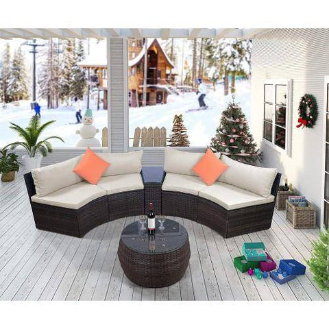Image of 6-Piece Furniture Sets, Outdoor Sectional Furniture Wicker Sofa Set with Two Pillows and Coffee Table
