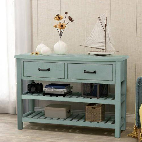 Image of Retro Console Table for Entryway with Drawers and Shelf Living Room Furniture (Antique Blue)