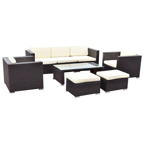 Image of 8 Pcs Outdoor Patio Rattan Wicker Cushioned Furniture Set with Solid Steel Frame