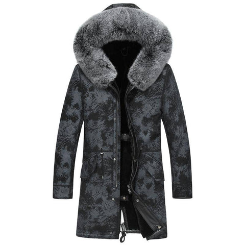 Genuine Leather Jacket  Real Shearling Sheepskin Long Coat with Natural Fox Fur Collar