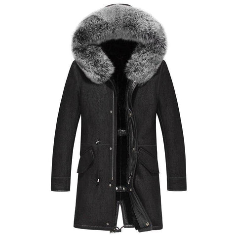 Image of Genuine Leather Jacket  Real Shearling Sheepskin Long Coat with Natural Fox Fur Collar