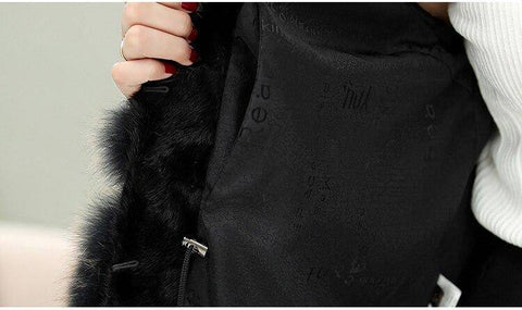 Image of Women Genuine Leather Mink Fur Coat Fox Fur Collar