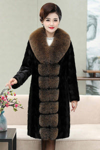 Women Genuine Leather Mink Fur Coat Fox Fur Collar