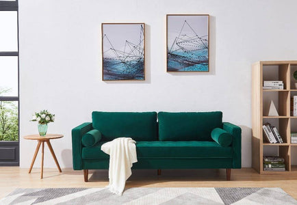 Modern Velvet fabric Bench Sectional Couch Sofa