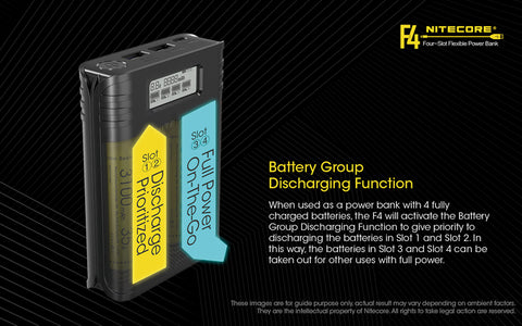 Image of 2 in 1  F4 Charger Four-Slots Flexible USB charging Power Bank /LCD screen Battery charger 4* 18650 3500mAh 8A batteries