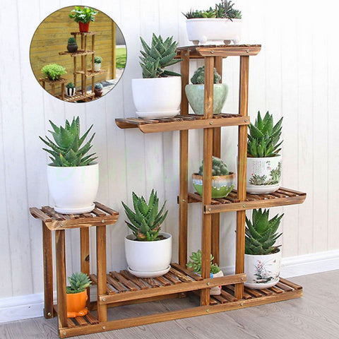Wooden Tiered Plant Nursery Shelf