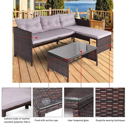 3 Pcs Wicker Deck Couch Patio Sofa Set