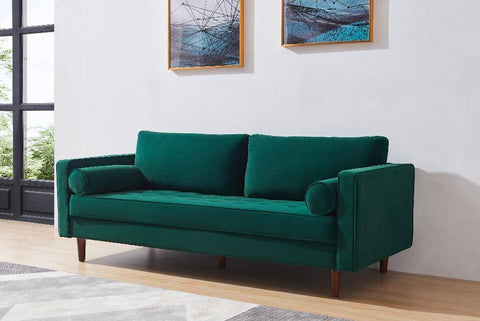 Image of Modern Velvet fabric Bench Sectional Couch Sofa