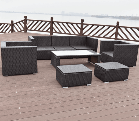 8 Pcs Outdoor Patio Rattan Wicker Cushioned Furniture Set with Solid Steel Frame