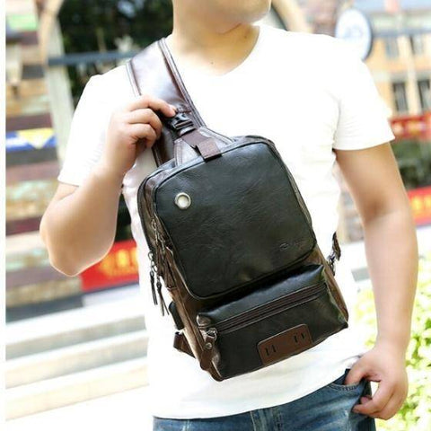 Image of Backpack - Men's Leather Backpack Shoulder Bag