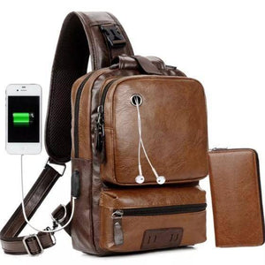 Backpack - Men's Leather Backpack Shoulder Bag