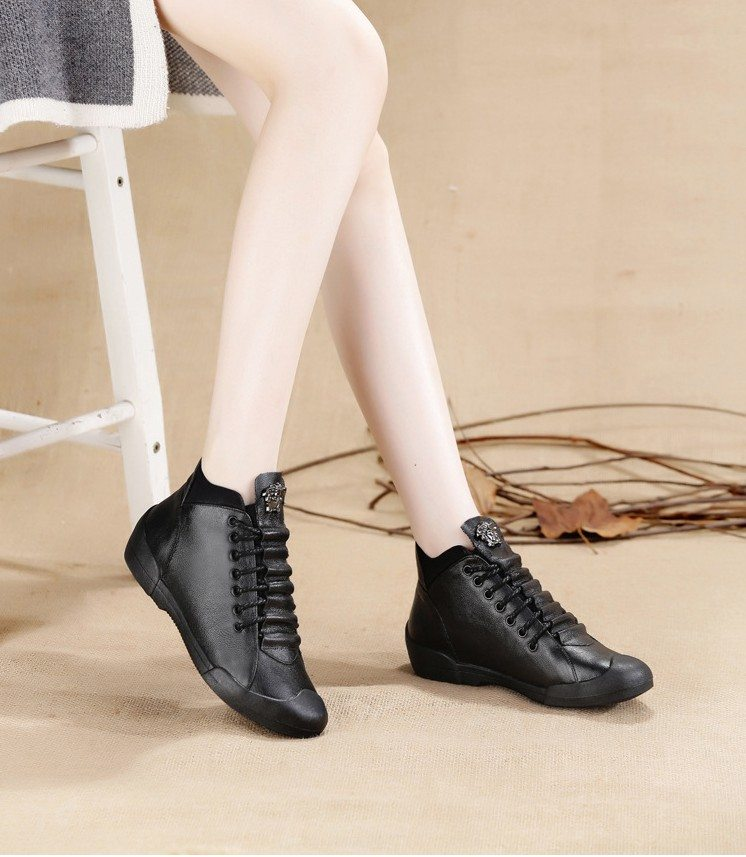 Bag & Shoes / Women's Shoes / Vulcanize Shoes - Lace Up Leather High-Top Casual Shoes