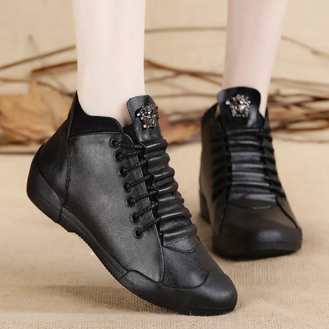 Image of Bag & Shoes / Women's Shoes / Vulcanize Shoes - Lace Up Leather High-Top Casual Shoes