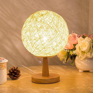 Bedroom Light - Vintage Linen Rattan Wood Desk Lamp | Stylish Bedroom Decoration Desk Light
