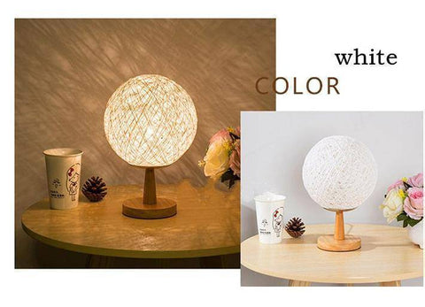 Image of Bedroom Light - Vintage Linen Rattan Wood Desk Lamp | Stylish Bedroom Decoration Desk Light