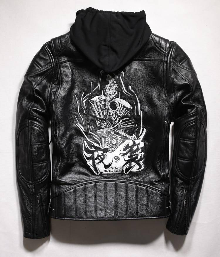 Biker Jacket - Cool Skull Genuine Leather Motorcycle Biker Jacket.