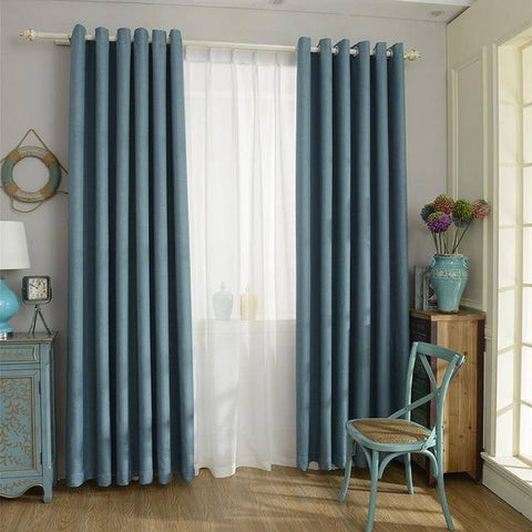 Image of Blackout Curtain - Solid Color  Linen Blackout Curtain For Living Room