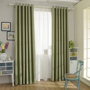 Solid Color  Linen Blackout Curtain for Living Room