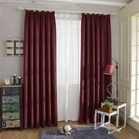 Blackout Curtain - Solid Color  Linen Blackout Curtain For Living Room
