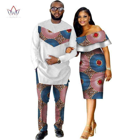 Couples Clothing - Dashiki Print Couples Matching Clothing For Lovers | Two Piece Set Men's Suit Plus Women's Ruffle Sleeve Bodycon Dress